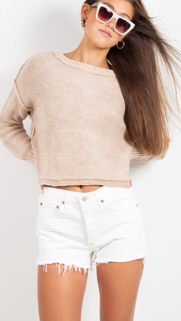 Agolde White cut off denim shorts