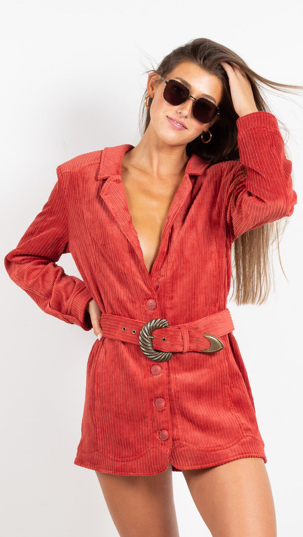 For Love & Lemons Carson Blazer Dress Rust Belted
