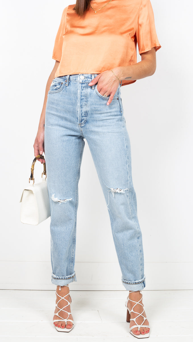Agolde Light Wash Distressed High Rise Boyfriend Jeans