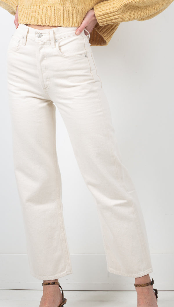 Agolde Off White High Rise Wide Leg Jean