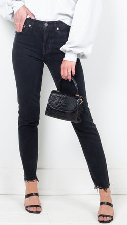 Agolde Washed Black High Rise Skinny Jeans
