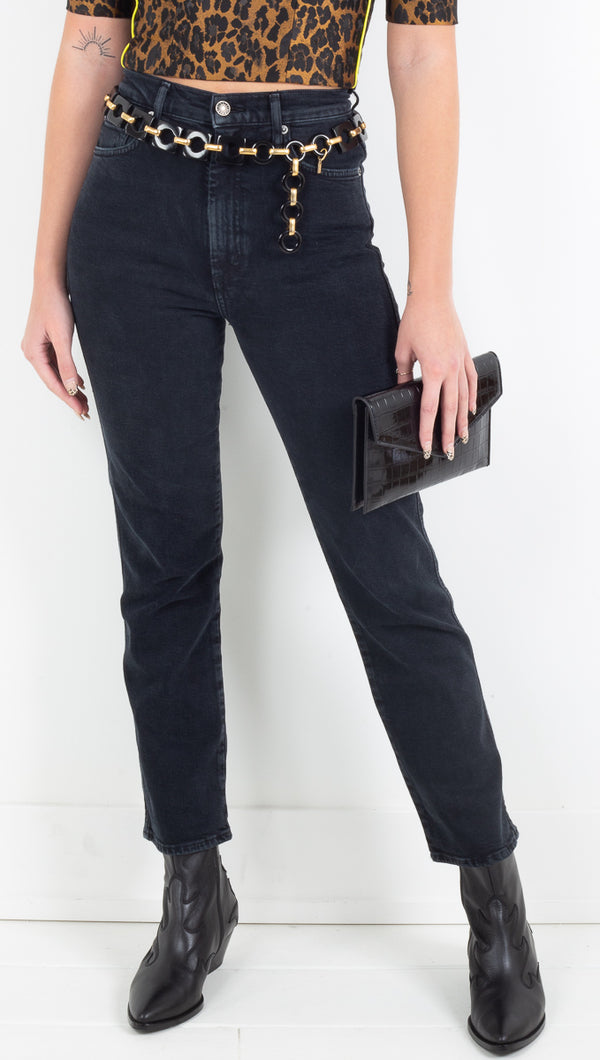 Agolde black high rise kick-flare jeans