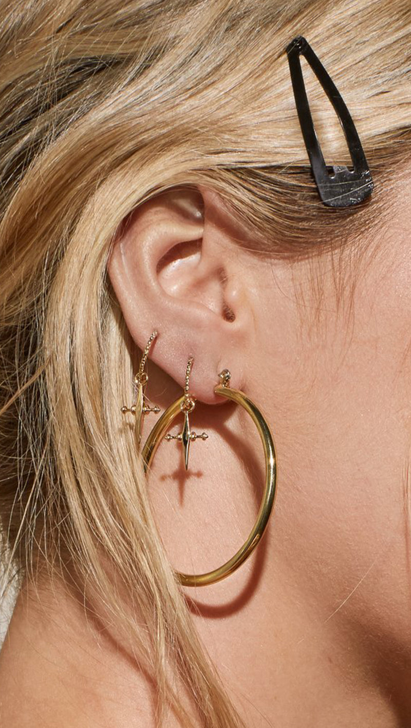 Mini Cross Hoops - Gold