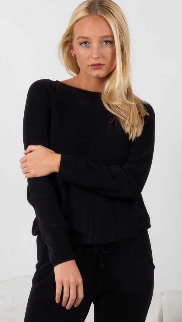 CozyChic Ultra Lite Rolled Neck Pullover - Black