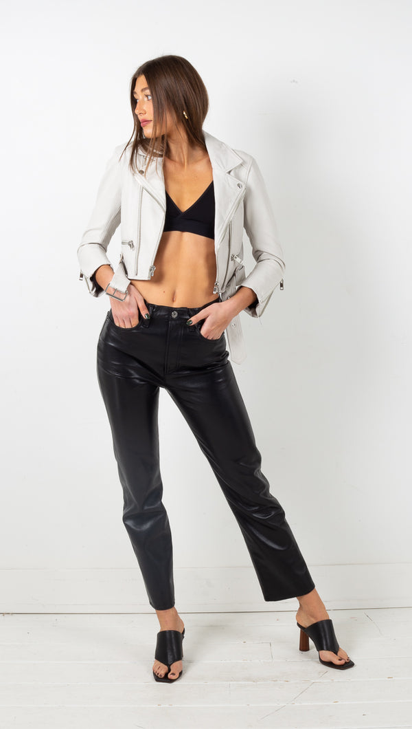 Iben Cropped Leather Jacket - White