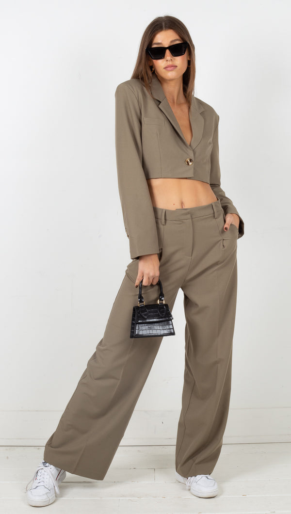Bella Power Suit Set - Khaki