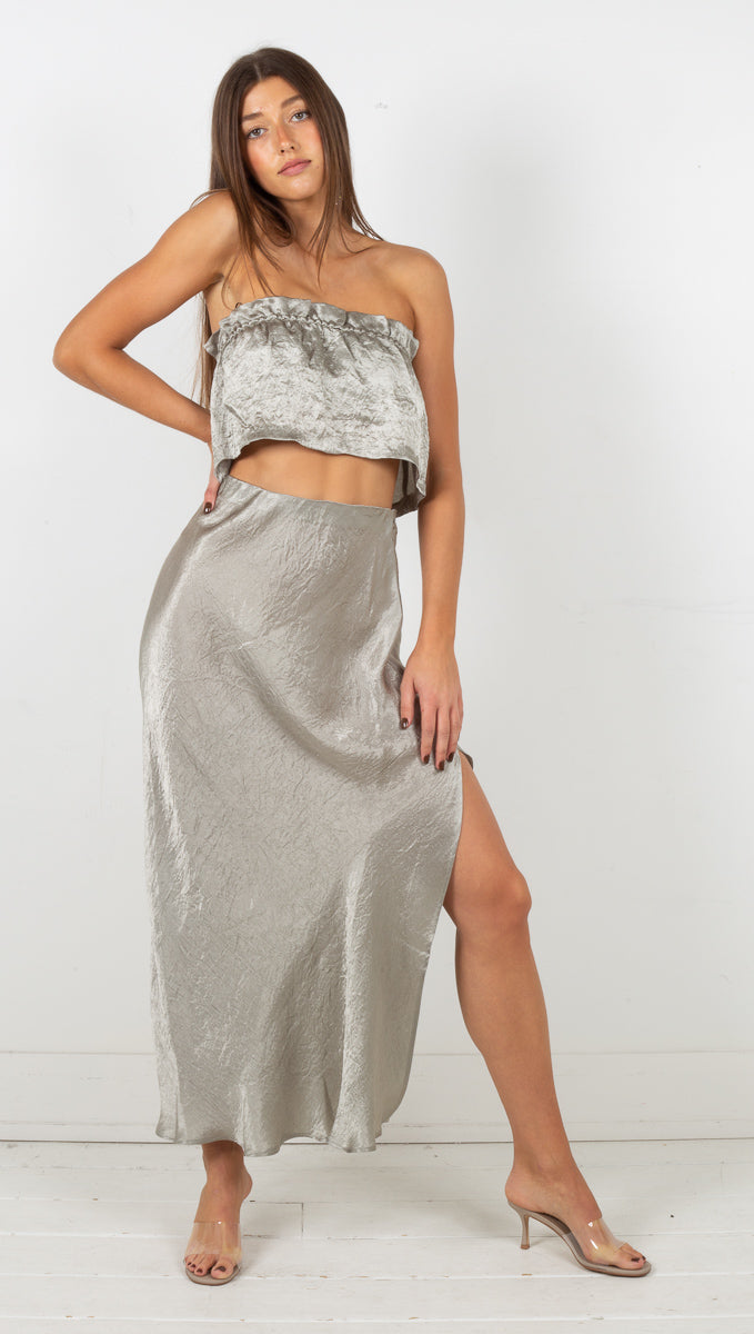 Waters Edge Bias Maxi Skirt - Sage