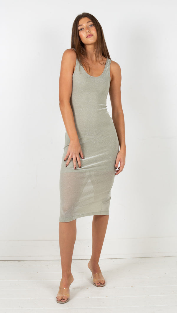 Stardust Scooped Tank Dress - Sage