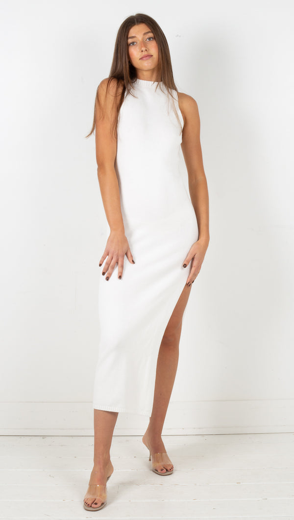 Cast Away Knit Maxi Tank Dress - Off White