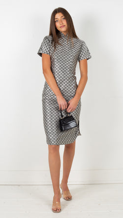 Vintage Patterned Midi Dress - Black/White
