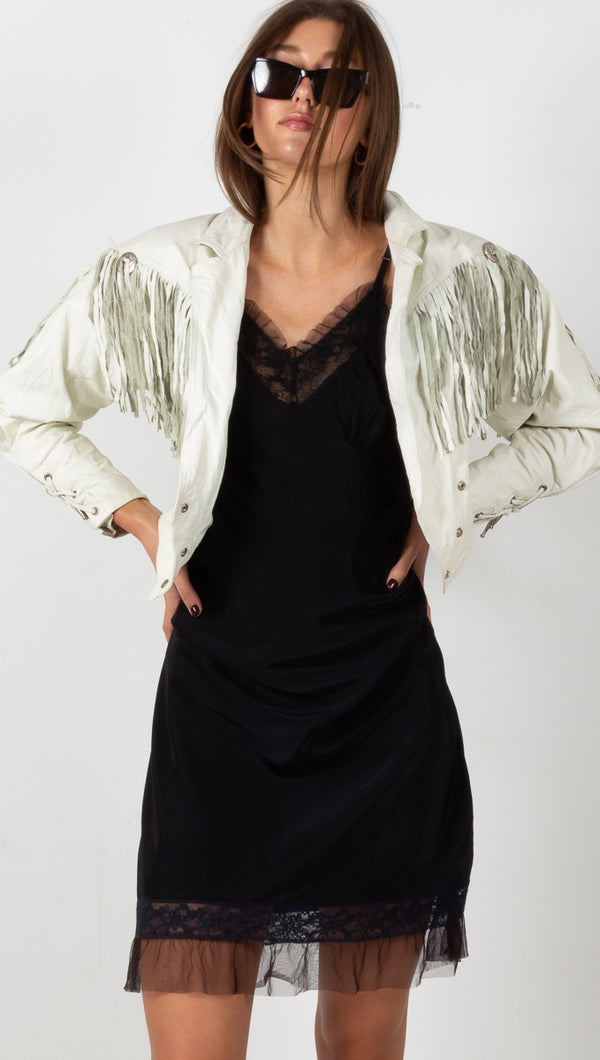 Vintage Fringe Leather Jacket - White