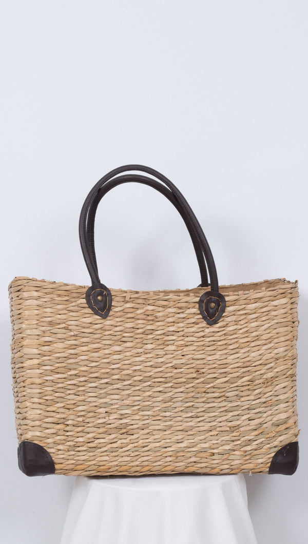 Van de Vort Brown Wicker Box Shaped Tote