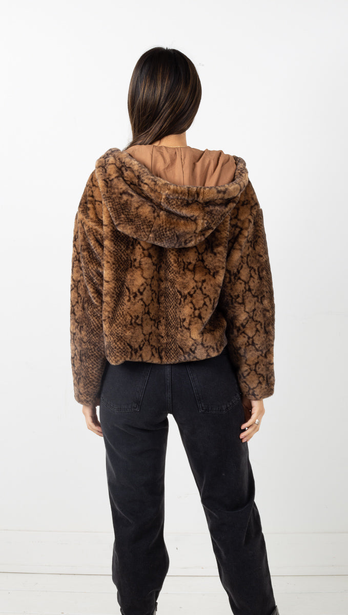 Juliette Faux Fur Hoodie - Brown