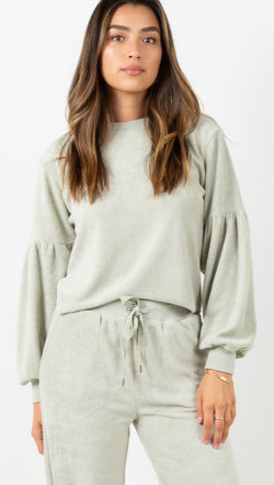 Swelled Long Sleeve Fleece Top - Palm Green