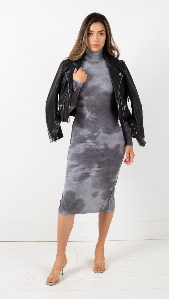 Luna Tie Dye Midi Dress - Charcoal