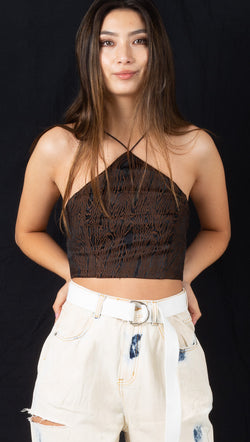 Heidi Crop - Black/Brown Grain