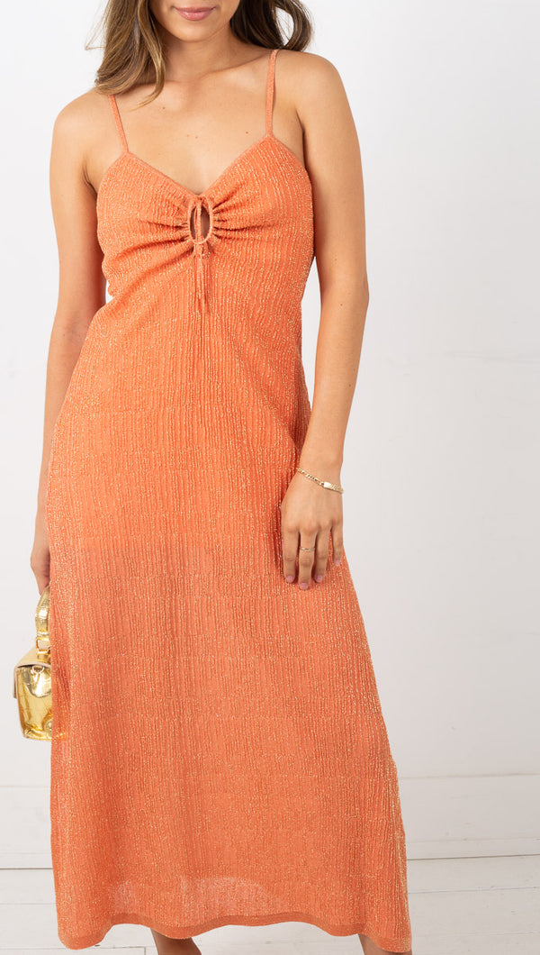 Down Four Knit Midi Dress - Desert Rose