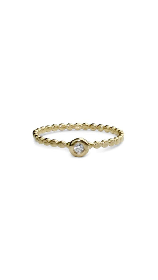 Amanda Hunt 14k Gold Dotted Band with White Diamond at Center