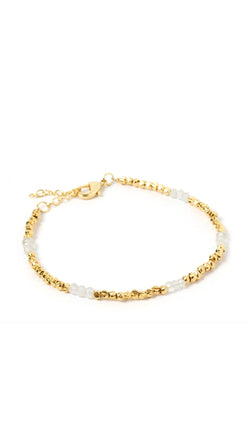 gold and white beaded bracelet