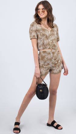 Amuse Society Leopard Print High Rise Relaxed Fit Short