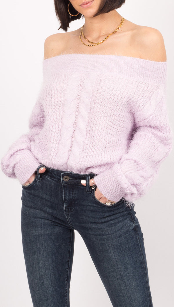 Amuse Society Light Purple Fuzzy Sweater