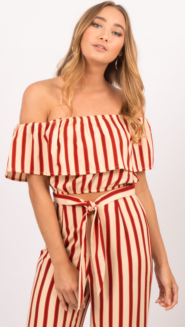 Amuse Society Red/Cream Stripe Off The Shoulder Crop Top
