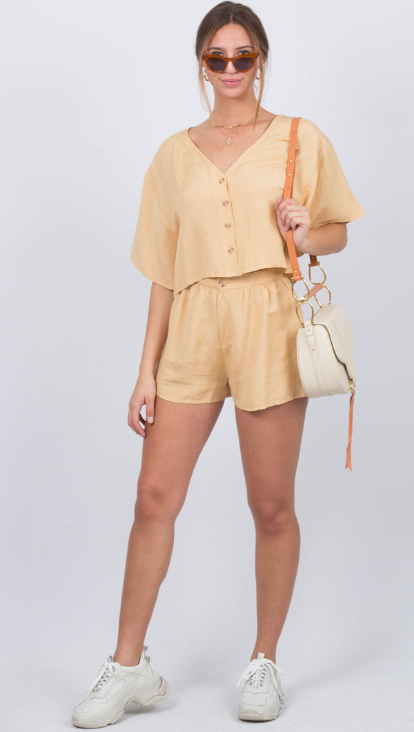 Canopy High Waisted Woven Short - Latte