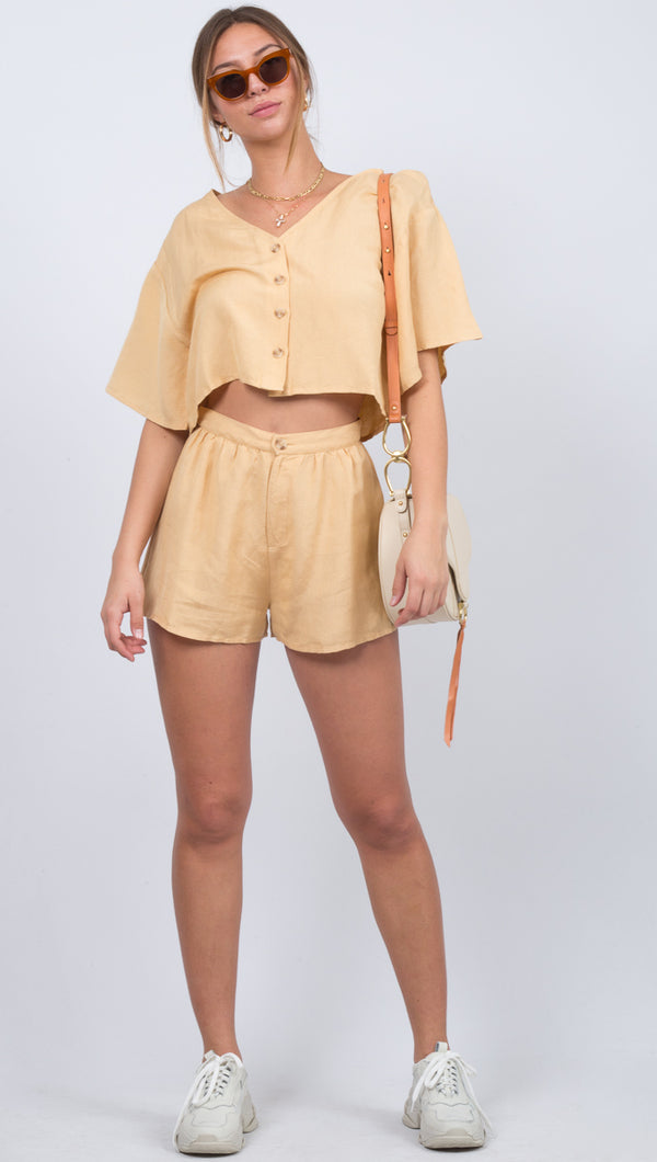 Amuse Society Yellow Linen High Waist Shorts