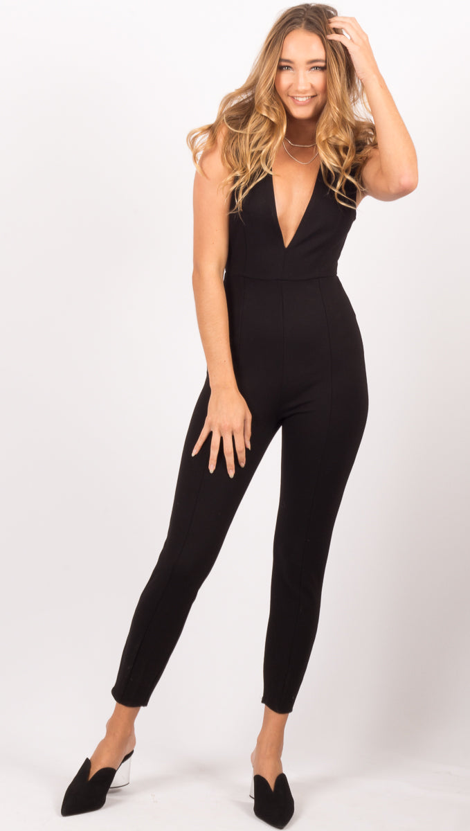 Amuse Society Black V Neck Jumpsuit