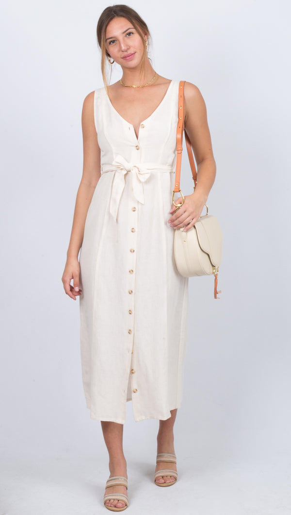 Amuse Society Ivory Button Down V-neck Tank Midi Dress With Waist Tie