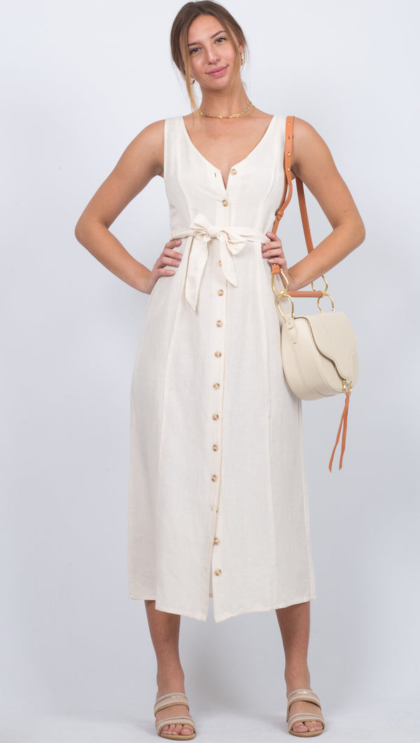 Driftwood Sleeveless Woven Dress - Casablanca