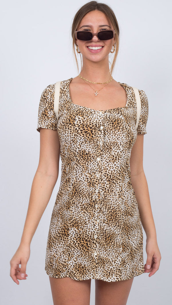 Iman Short Sleeve Woven Dress - Natural