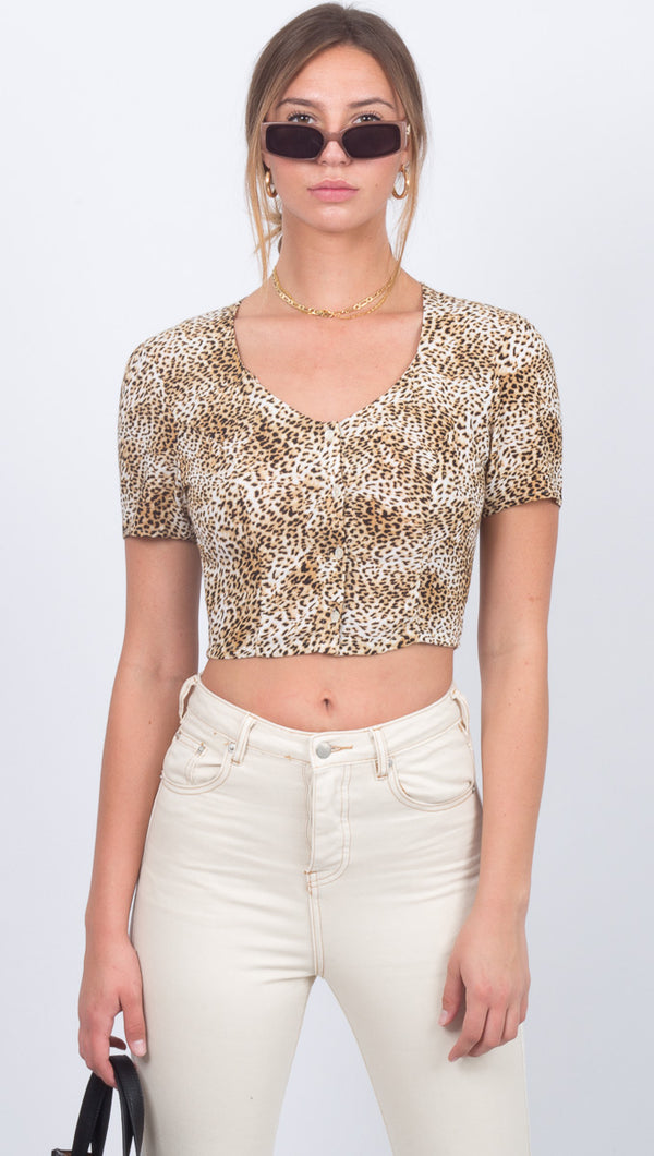Amuse Society Leopard Print Short Sleeve Crop Top With Scoop Neckline