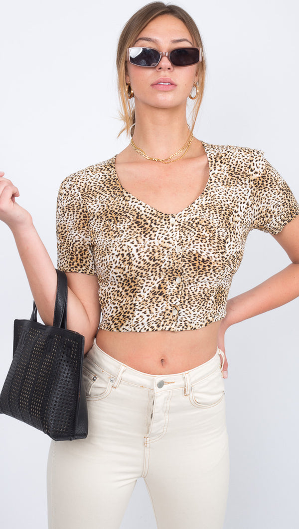 Jungle Babe Short Sleeve Woven Crop Top - Natural