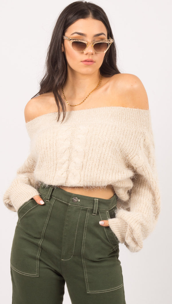 Amuse Society Beige Knit Sweater