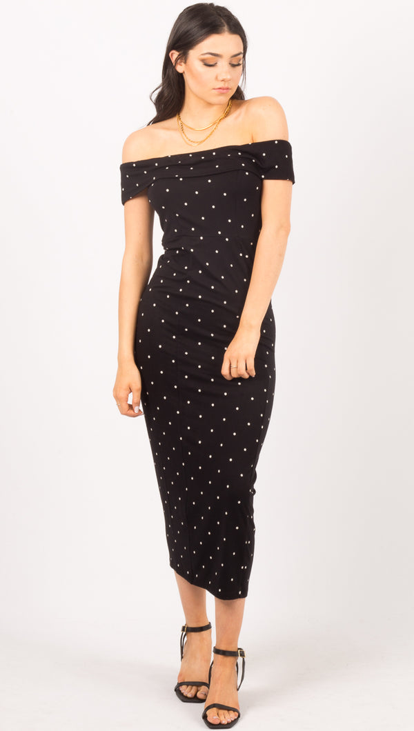 Amuse Society Black Polka Dot Off The Shoulder Maxi Dress