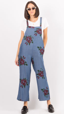 Amuse Society Blue Floral Jumpsuit