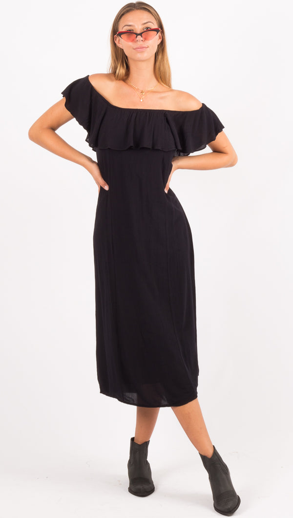 Amuse Society Black Off The Shoulder Midi Dress