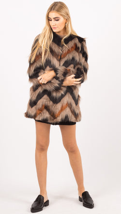 Amuse Society Multicolor Faux Fur Jacket