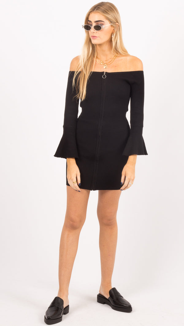 Amuse Society Black Off The Shoulder Zip Up Mini Dress