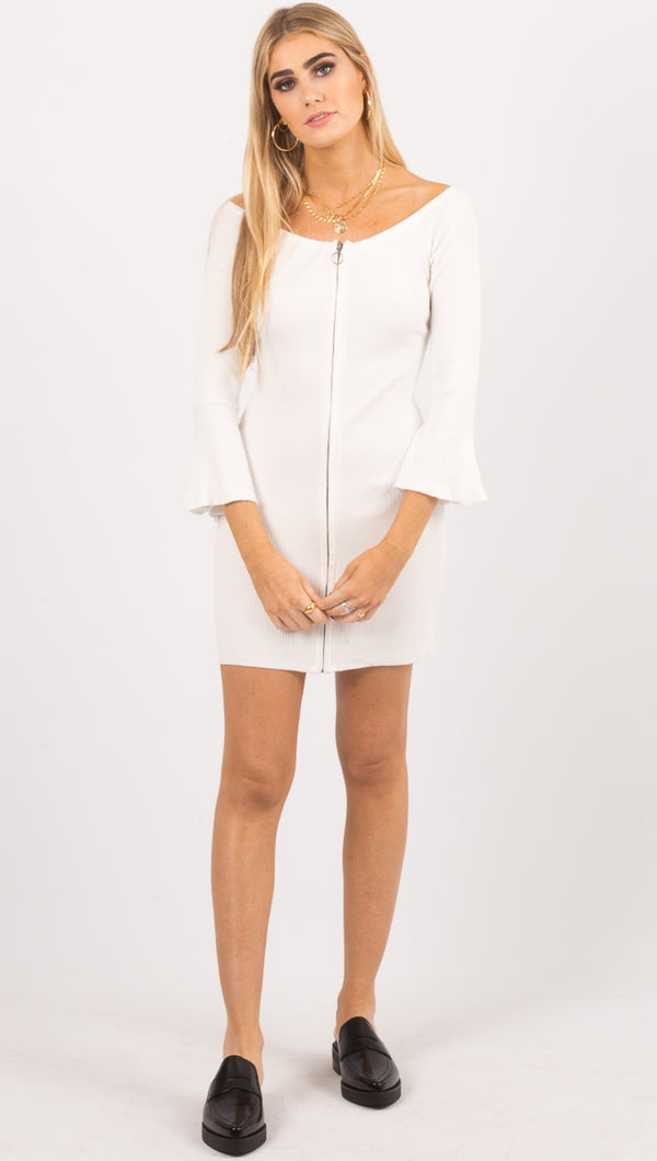 Amuse Society White Off The Shoulder Zip Up Mini Dress