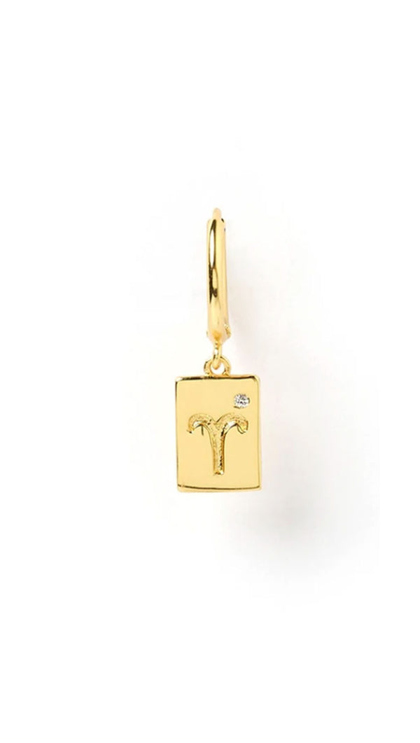 Zodiac Tag Huggie - Gold/Single