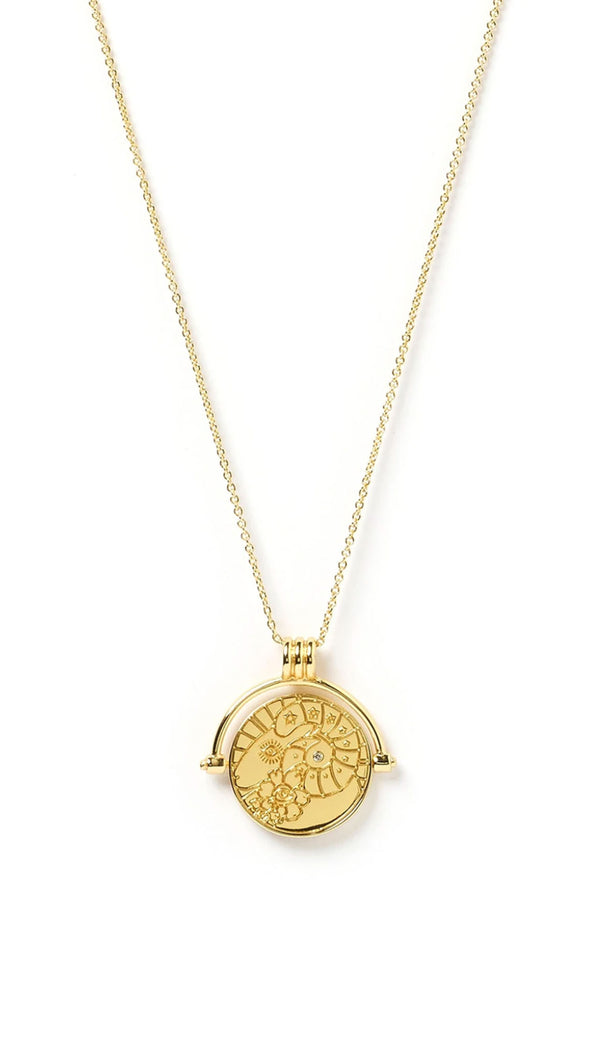 zodiac spinning necklace in gold