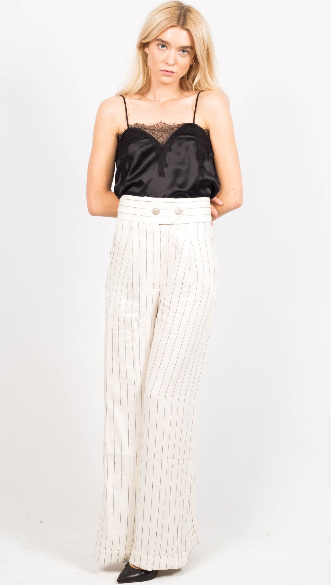 White High Waist Stripe Trousers
