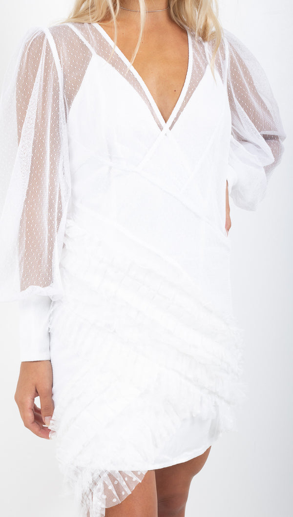 Atoir white sheer long sleeve dress with satin lining