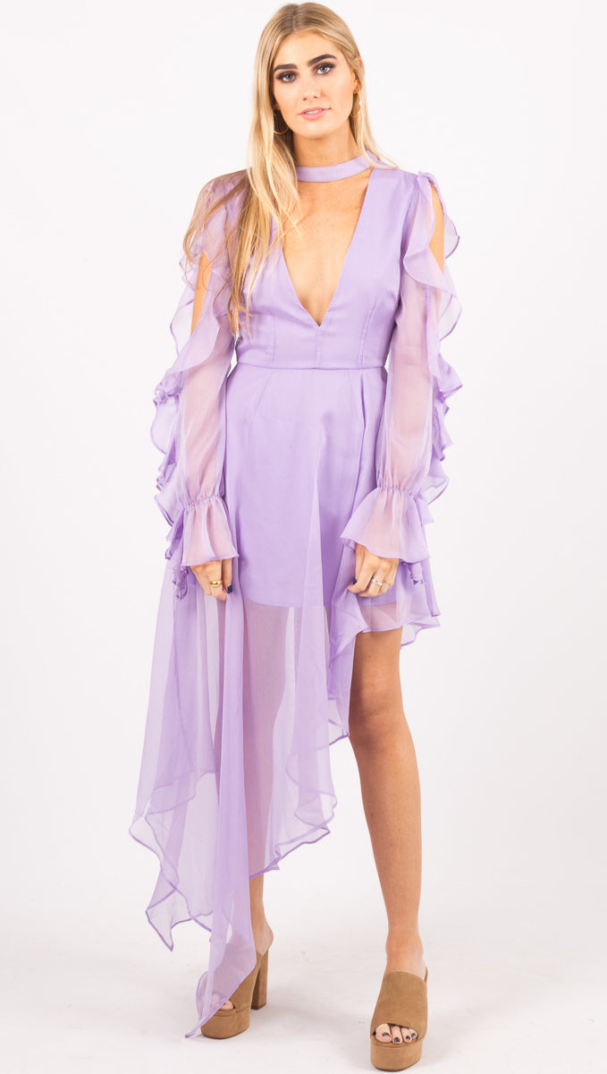 Atoir Light Purple Ruffle Gown