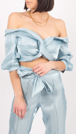 Atoir Light Blue Off The Shoulder Crop Top
