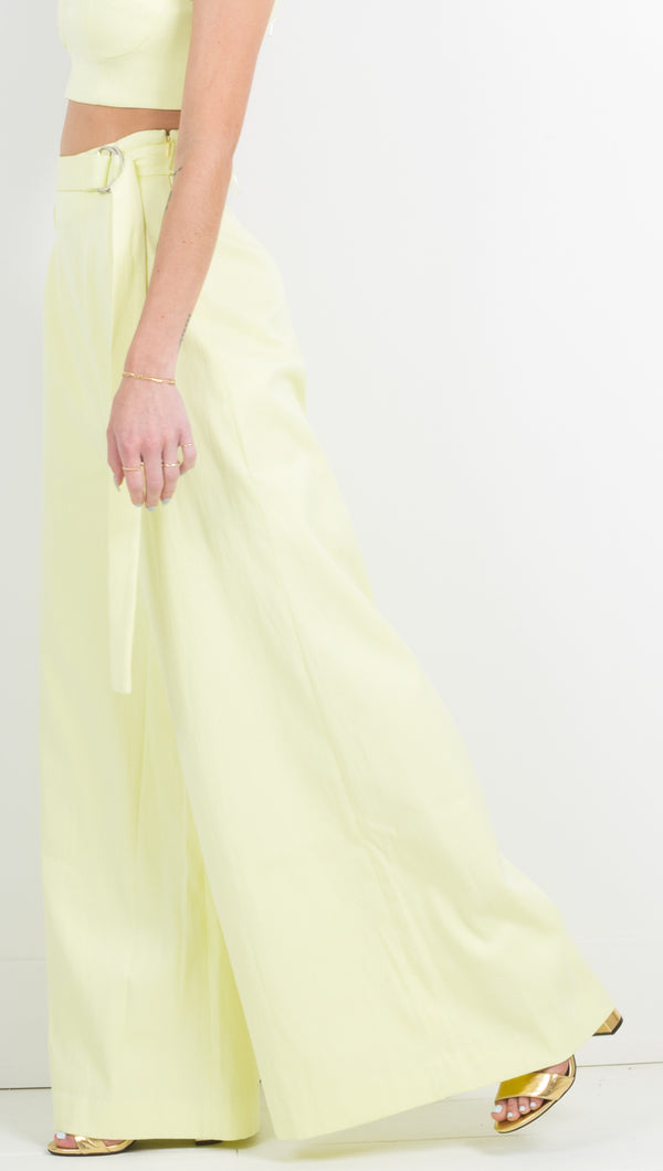 Atoir Wide Leg Belted Yellow Pants