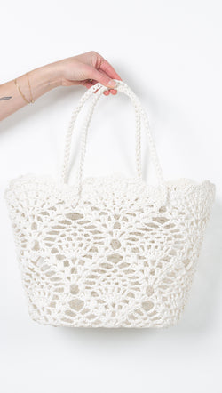 White Crochet Beach Bag Tote