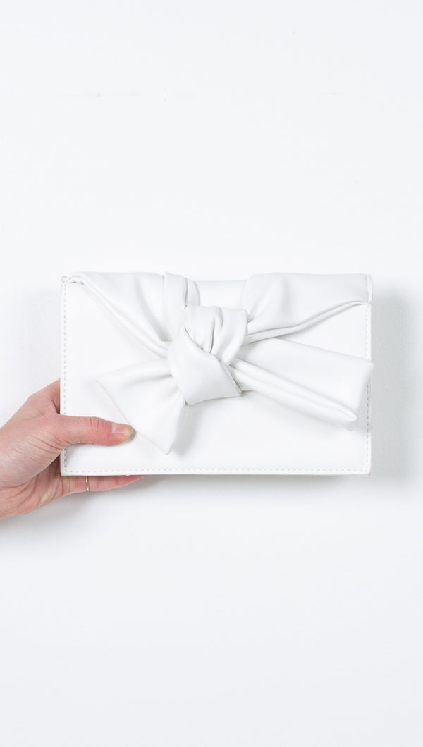 White Vegan Leather Bowtie Clutch and Crossbody